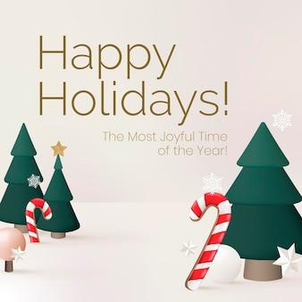 Frohe feiertage social media-vorlage, weihnachtsbaumvektor