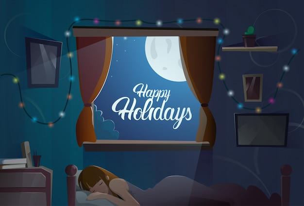 Frohe feiertage text im fenster vom schlafzimmer mit schlafendem mädchen-weihnachten und neujahr-fahne