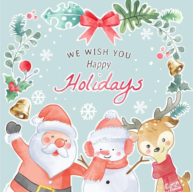 Frohe feiertage weihnachtsgrußkarten-illustration