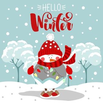 Frohe feiertagsgrußkarte. hallo winter. weihnachts- und neujahrsbeschriftung. druck auf stoff, papier, postkarten, einladungen.