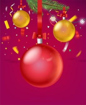 Frohe feiertagsgrußkarte mit konfetti und kugeln