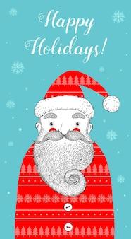 Frohe feiertagsgrußkarte mit santa
