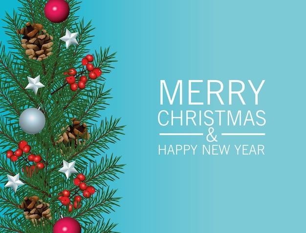 Frohe frohe weihnachten-beschriftungskarte mit blättern und kugeln