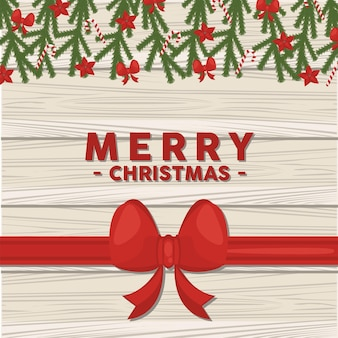 Frohe frohe weihnachten-beschriftungskarte mit bogen und blättern im hölzernen hintergrund