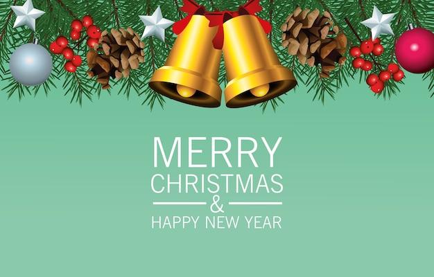 Frohe frohe weihnachten-beschriftungskarte mit goldenen glocken und blättern
