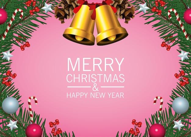 Frohe frohe weihnachten-beschriftungskarte mit goldenen glocken und kugel im kranz