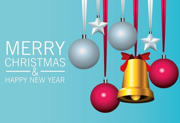 Frohe frohe weihnachten-beschriftungskarte mit goldener glocke und kugeln