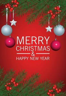 Frohe frohe weihnachten-beschriftungskarte mit hängenden kugeln und blättern