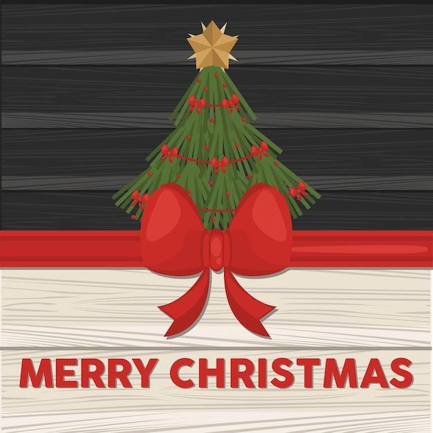 Frohe frohe weihnachten-beschriftungskarte mit kiefer im hölzernen hintergrund