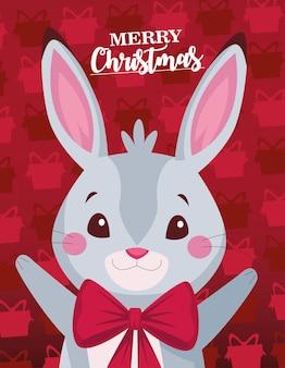 Frohe frohe weihnachten-beschriftungskarte mit niedlicher kaninchenillustration