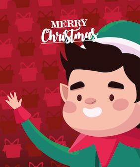 Frohe frohe weihnachten-beschriftungskarte mit santa helfer-charakterillustration