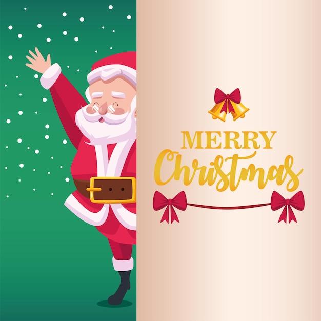 Frohe frohe weihnachten-beschriftungskarte mit weihnachtsmann-charakterillustration