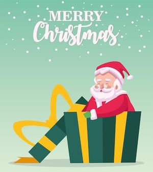 Frohe frohe weihnachten-beschriftungskarte mit weihnachtsmann in geschenkillustration