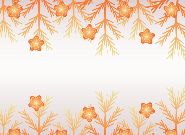 Frohe frohe weihnachten goldene sterne und tannenblätter illustration