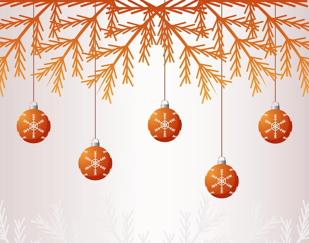 Frohe frohe weihnachten goldene tannen und bälle hängen illustration