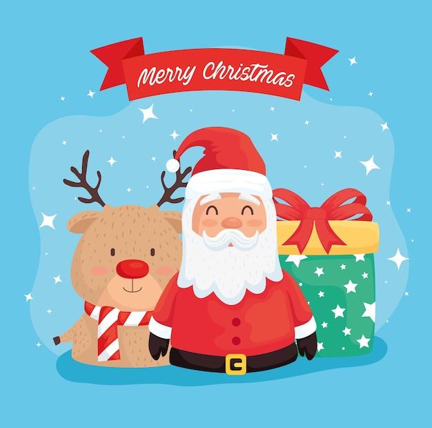 Frohe frohe weihnachten santa claus mit rentier- und geschenkillustrationsdesign