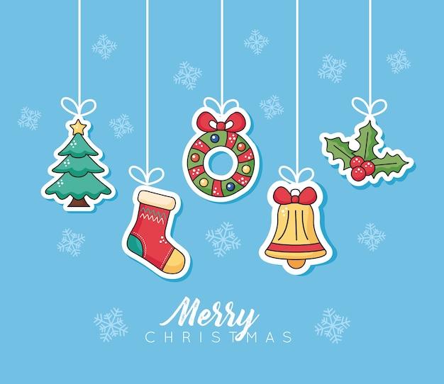Frohe frohe weihnachten stellten ikonen ein, die illustrationsentwurf hängen