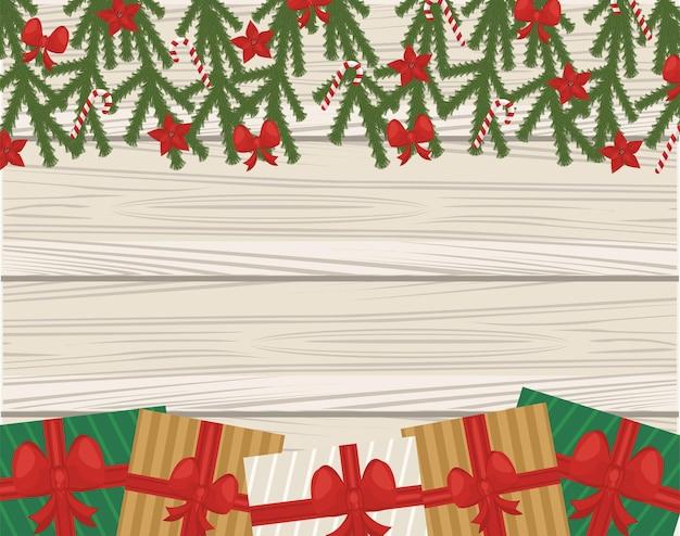 Frohe frohe weihnachtsblätter und -samen mit geschenken im hölzernen hintergrund