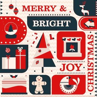 Frohe & helle freude weihnachten thema muster hintergrund.