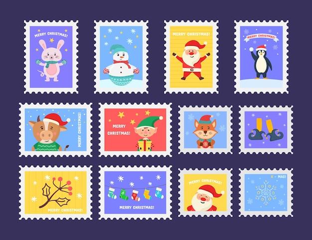 Frohe niedliche weihnachtsmarke mit feiertagssymbolen und dekorationselementen. sammlung von briefmarken mit weihnachtsdekorationssymbolen.