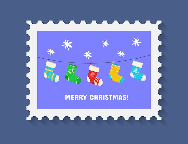 Frohe niedliche weihnachtsmarke mit feiertagssymbolen und dekorationselementen
