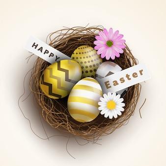 Frohe ostern, bunte eier mit vogelnest und schönen blumen.