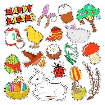 Frohe ostern dekorative elemente mit kaninchen, traditionellen eiern und nahrung für aufkleber, abzeichen, aufnäher.