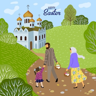 Frohe ostern. familie mit einem kind, das zu einer orthodoxen kirche geht, um eier und kuchen zu weihen.