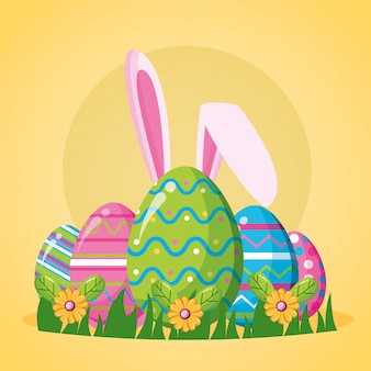 Frohe ostern feier illustration