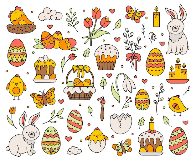Frohe ostern-feiertagskonzeptsatz der ikonenillustration