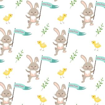 Frohe ostern festliche dekoration nahtloses muster mit kaninchenküken und grünen zweigelementen für die verpackung ...