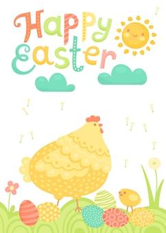 Frohe ostern festliche postkarte mit henne, hühnern und gemalten eiern auf einer wiese.