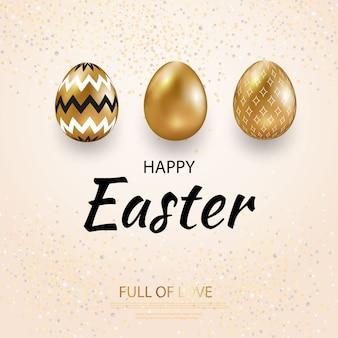 Frohe ostern-grußkarte, goldene eier, die mit geometrischem muster gesetzt werden.