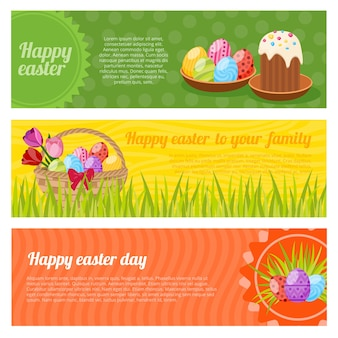 Frohe ostern horizontale banner set