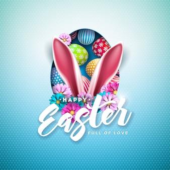Frohe ostern-illustration mit bunt bemaltem ei und kaninchenohren