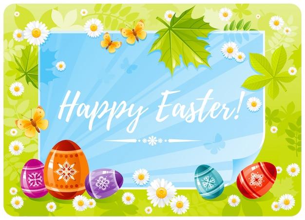 Frohe ostern karikatur mit eiern, baumblättern und papierblatt.