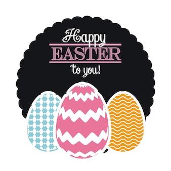 Frohe Ostern Karte mit Eiern