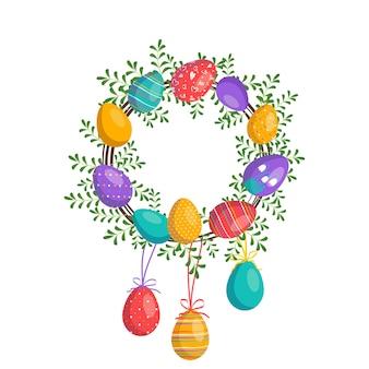 Frohe ostern kranz in leuchtenden farben. festliche dekoration mit frühlingselementen, blumen und eiern. flache vektorgrafik. geeignet für postkarten, drucke und designs