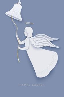 Frohe ostern mit dem schönen weißen engel, der die glocke im papierschichtstil läutet