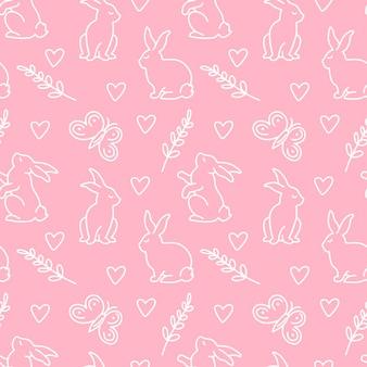 Frohe ostern nahtlose muster mit verschiedenen posen hase, blätter, herz, schmetterling auf rosa hintergrund isoliert. vektor-doodle-illustration. design für textilien, verpackungen, tapeten, kulissen