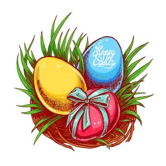 Frohe ostern. nettes osternest mit drei verschiedenfarbigen eiern. handgezeichnete illustration.