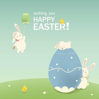 Frohe ostern ostern kaninchen hase mit eiern gras blumen im feld