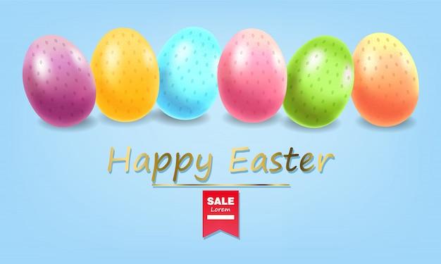 Frohe ostern, realistische eier gesetzt, bunte eierfahne, weißer hintergrund