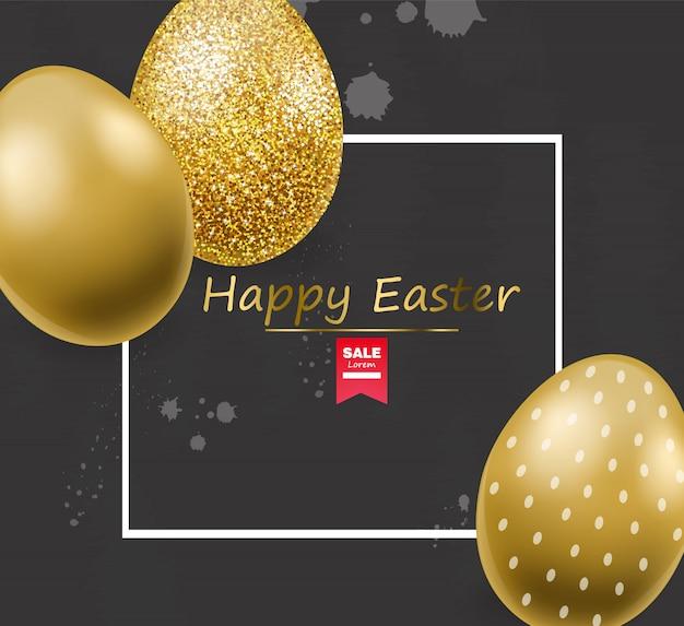 Frohe ostern, realistische eier, goldenes glitzereier-banner, schwarzer hintergrund