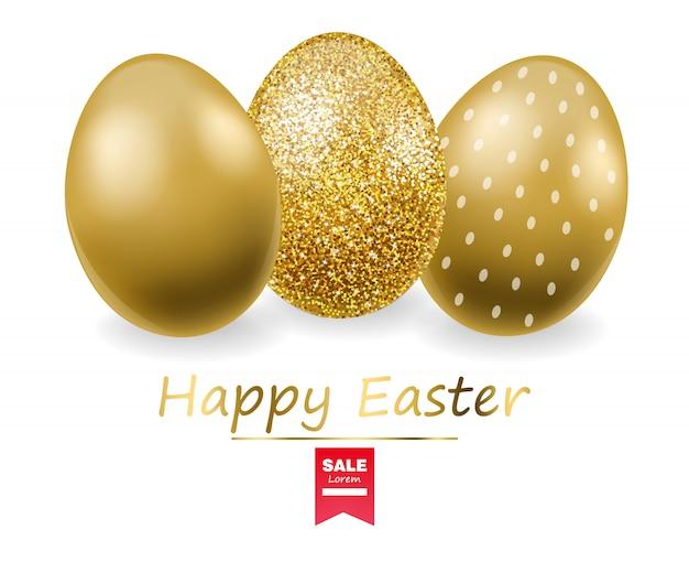 Frohe ostern, realistisches eierset, goldenes glitzereier-banner, weißer hintergrund