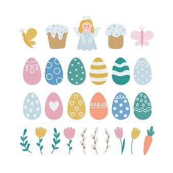 Frohe ostern. sammlung von vektorillustrationen mit farbigen eiern, engel, kuchen, frühlingspflanzen.