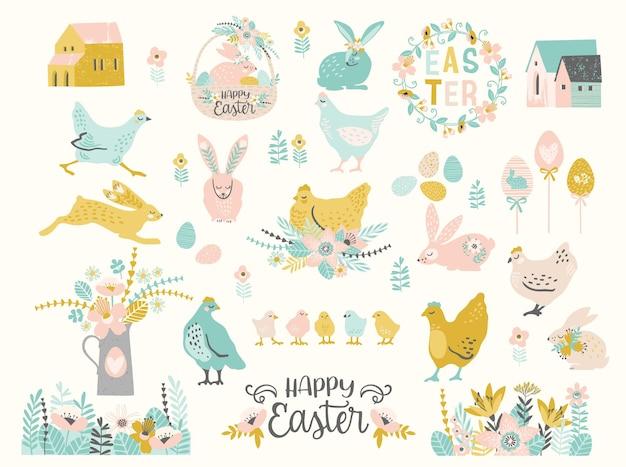 Frohe ostern. satz niedliche illustration. huhn, hasen, blumen, eier, häuser.
