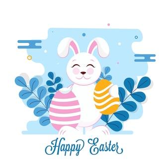 Frohe ostern-schriftart mit karikaturhase, die eier und blätter auf blauem und weißem hintergrund hält.