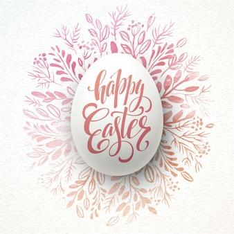 Frohe ostern schriftzug auf dem aquarell kranz mit eiern