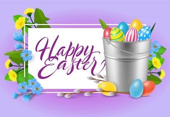 Frohe Ostern Schriftzug. Aufschrift mit Eimer bunten Eiern.
